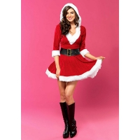 COSTUME SEXY MRS. CLAUS HOODED DRESS