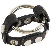 ANELLO FALLICO COCK e BALL STRAPS LEATHER ENGLISH CAGE