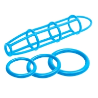 ANELLI FALLICI E COSTRITTIVO PER PENE NEON SILICONE CAGE AND LOVE RING SET